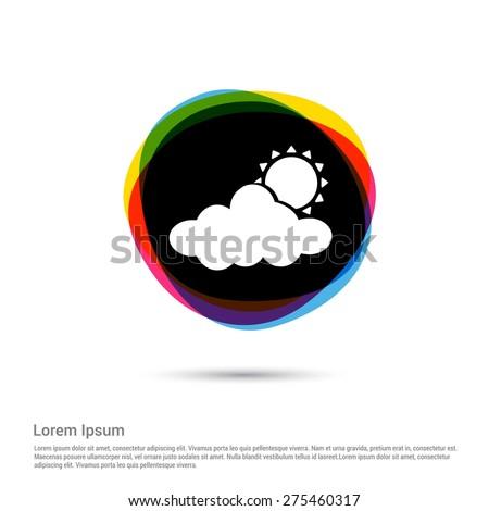 sun cloud weather icon  white