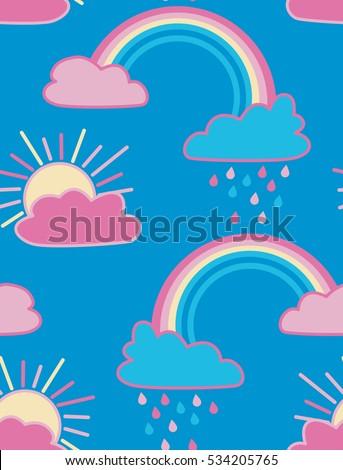sun clouds and rainbow vector