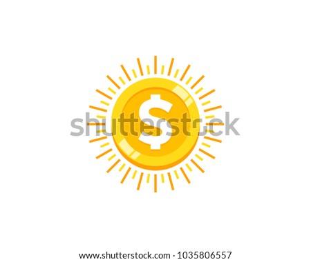 sun coin icon logo design...