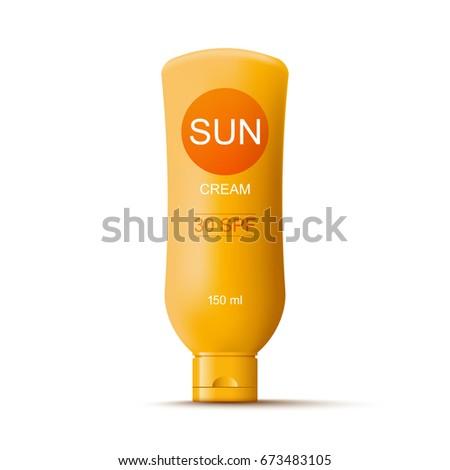 Sun cream bottle template, isolated on white Stock foto ©