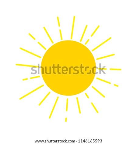 Sun design icon template. Sunlight and sunshine logo. Nature solar concept vector illustration