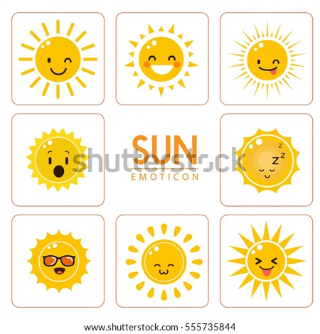 sun emoticon design elements