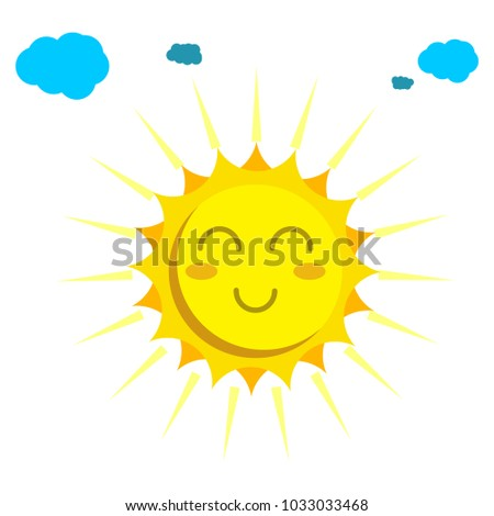 sun face cloud vector icon for web