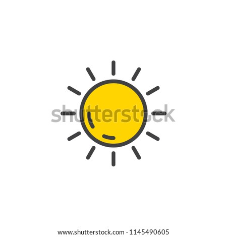 Sun filled outline icon, line vector sign, linear colorful pictogram isolated on white. Summer season symbol, logo illustration. Pixel perfect vector graphics