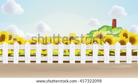 sun flower field cartoon