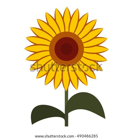 sun flower icon in flat style