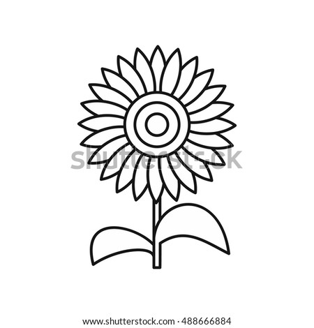 sun flower icon in outline