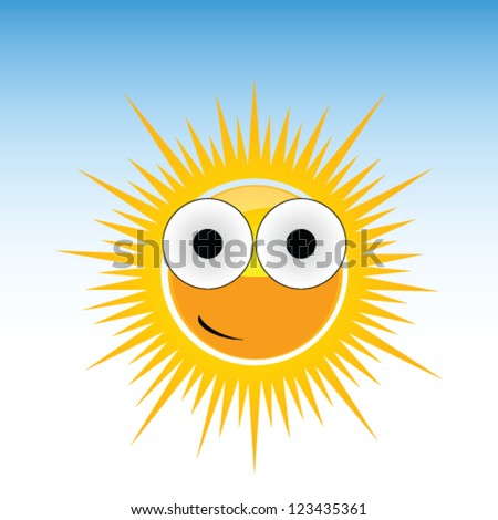 sun funny with big eye vector on blue background