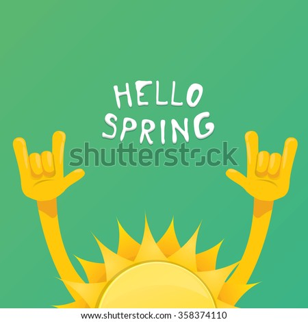 Sun hand rock n roll icon vector illustration. Spring or summer Rock concert poster design template or greeting card. Hello spring