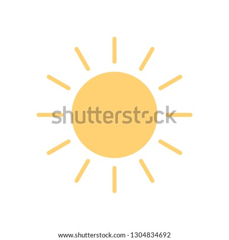 Sun icon in flat style, isolated on white background. Sunny weather symbol for your web site design, logo, app