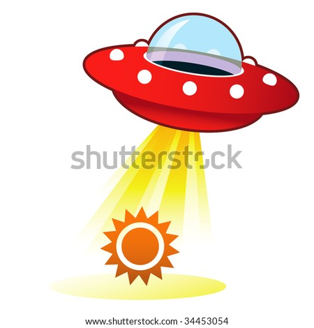 Sun icon on retro flying saucer UFO with light beam.