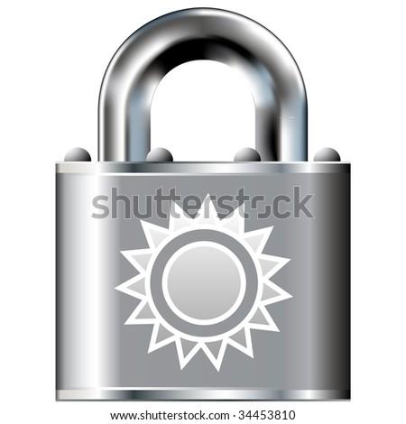 Sun icon on secure vector lock button.