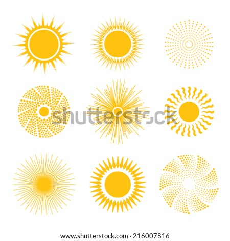 Sun icon set - abstract and unusual. Vector illustration