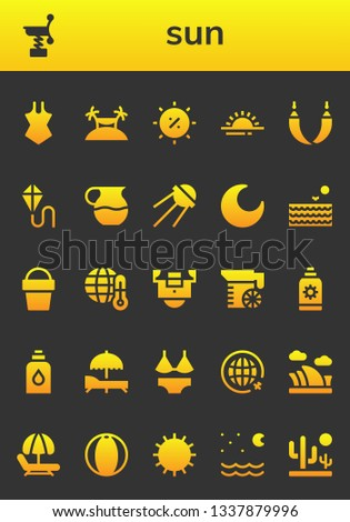 sun icon set. 26 filled sun icons.  Collection Of - Swimsuit, Spring, Island, Summer, Sunrise, Hammock, Kite, Juice, Sputnik, Night, Sea, Sand bucket, Global warming, Field, Sun cream
