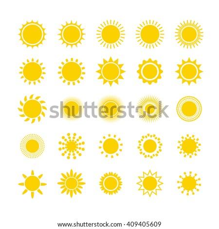 sun icon set star logo icon