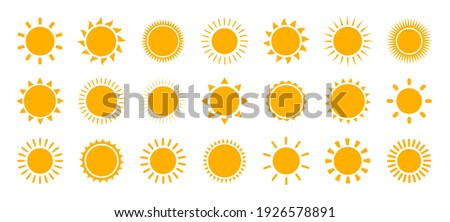 Sun icon set. Vector flat design. Collection of sun stars for use in as logo or weather icon.