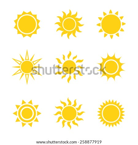 Sun icon set, vector illustration