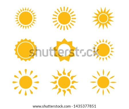 Sun icon set vector illustration design summer yellow