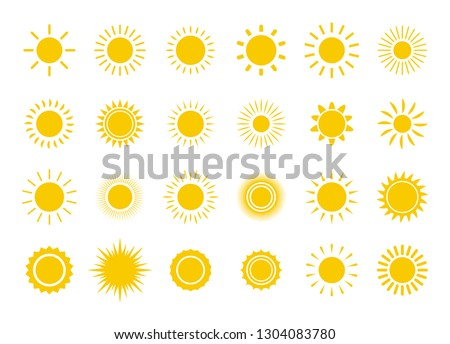 Sun icon set. Yellow sun star icons collection. Summer, sunlight, nature, sky. Vector illustration isolated on white background