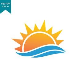 sun icon vector logo template