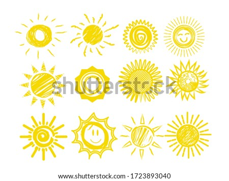 Sun icons. Funny doodles of sun vector illustration. Weather forecast elements. Yellow sun hand drawn sketches set isolated on white background. Cute kids scribble use for products design