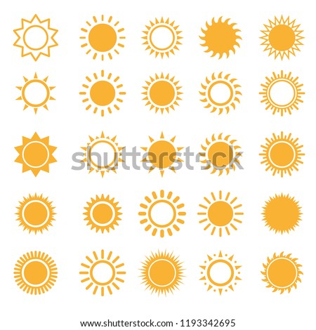 Sun icons isolated set on white