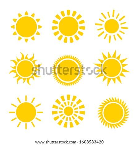 sun icons set. Flat shining symbols collection. Daylight logos