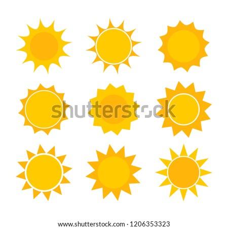 Sun icons. Vector design elements set.