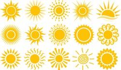 Sun icons vector symbol set