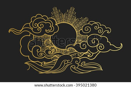 Sun in the sky over the sea. Decorative graphic design element. Vector illustration in oriental style