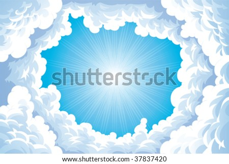 cartoon sun and clouds. stock vector : Sun in the sky