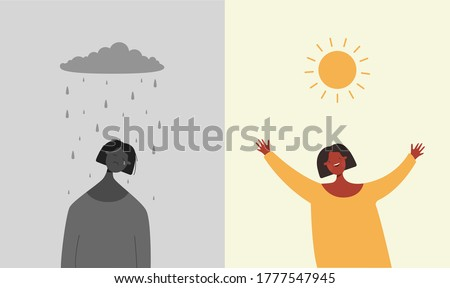 Sun is happy rain sad illustration. Character is sad when it rains and depressive weather rejoices when sun shines brightly two bipolar flat opposites psychological vector mood swings. ストックフォト ©