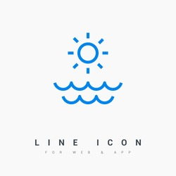 Sun isolated minimal single flat linear icon for application and info-graphic. Sea line vector icon for websites and mobile minimalistic flat design.