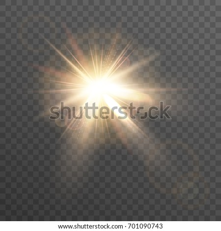 sun lens flare isolated light