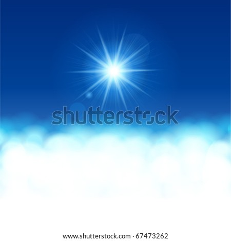 Sun  lens flare with clouds vector background