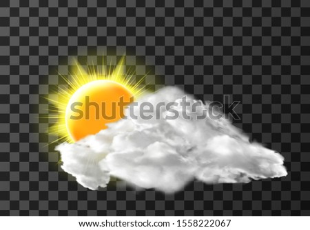 Sun light cloud cover weather meteo icon realistic vector illustration. Realistic elements for weather forecast, sun and white cloud, isolated on transparent background