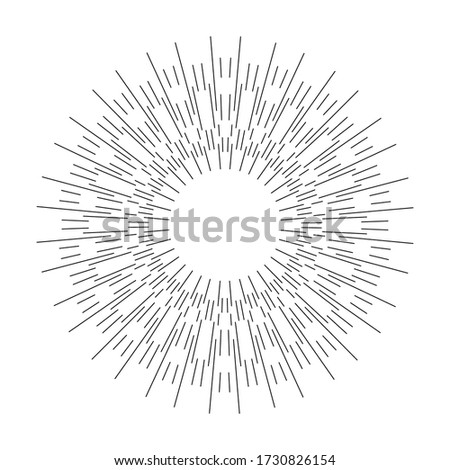 Sun light rays or star burst isolated on white background. Black radial lines. Speed graphic, creative design. Explosion round shape. Vector template vintage logo, emblem. Irregular, chaotic beams Сток-фото ©