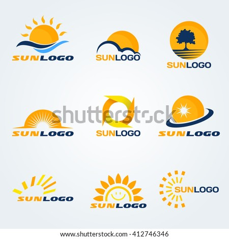 sun logo  have trees  clouds