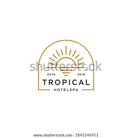sun logo, sunset sunrise with beach ocean sea water logo icon vector in trendy line linear, abstract outline logo vector for hotel or spa