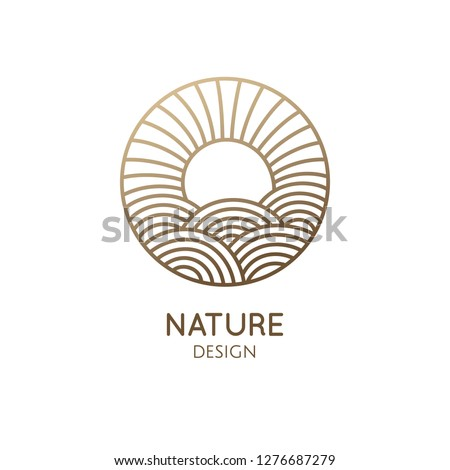 Sun logo template. Vector linear round icon of sea landscape with waves, light of a sun. Minimal logotype for business emblems, badge for a travel, tourism and ecology concepts, health and yoga Cente