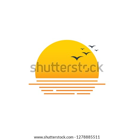 sun logo with seagulls