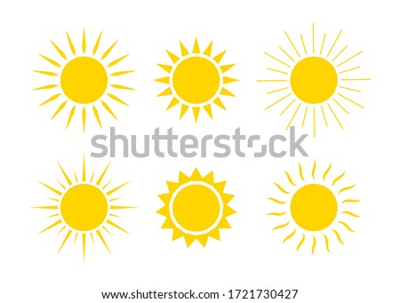 Sun logos. Icons of sunrise, sunset with sunbursts. Cute drawing of sunshine for kids. Happy spring and summer morning. Yellow and orange cartoon graphic shapes. Collection silhouettes of suns. Vector