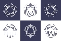 Sun logotype collection. Isolated abstract round shape logo set. Modern, simple flat vector illustration.