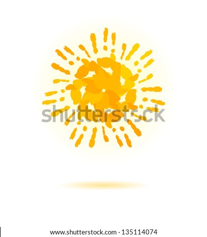 Sun made of handprint. Vector concept for your design.