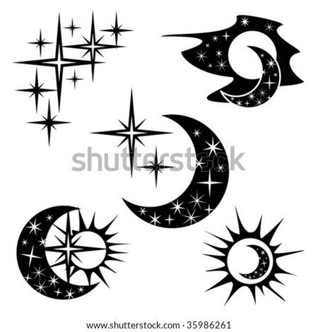 stock vector : sun, moon and stars, (day and night)