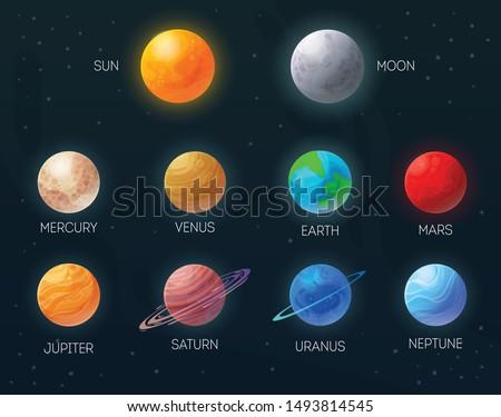 Sun moon mercury venus earth mars jupiter saturn uranus neptun colorful planets set black background vector illustration