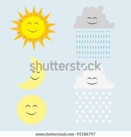 Sun, moon, rain and snow clouds with faces