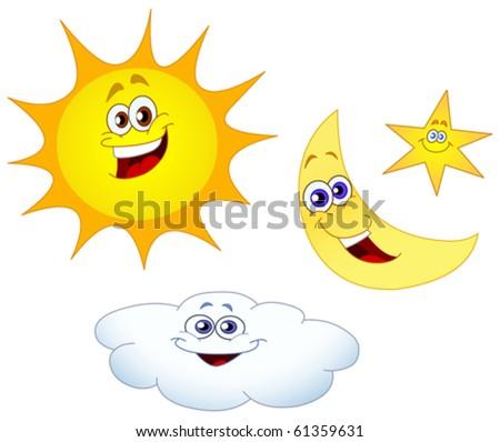 Sun moon star and cloud set - stock vector