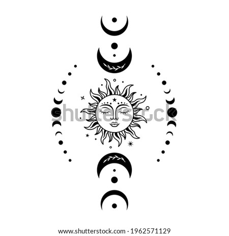 Sun moon vector silhouette design. Boho sun with face surrounded by crescent moon and moon phases. Vector monochrome illustration. Symbols of magic, mysticism and alchemy.