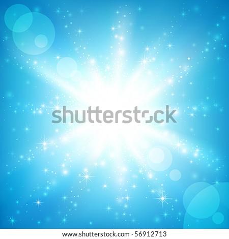 Sun on a blue sky. Vector illustration